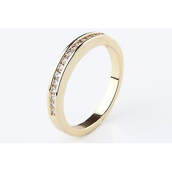 Ah! Jewellery 24K Gold Electroplated half Eternity Band Ring, Stainless Steel