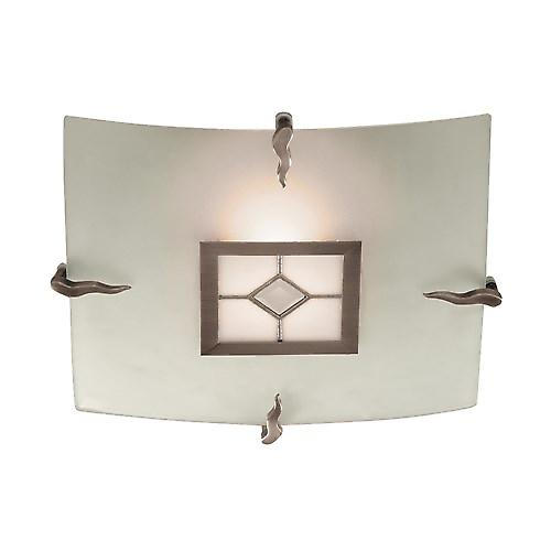 Searchlight 4207-30 Tiffany Flush Ceiling Light Square Frosted And Leaded Glass