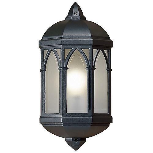 Endon YG-065-BL Traditional Aluminium Flush Outdoor Wall Light With Frosted Panels