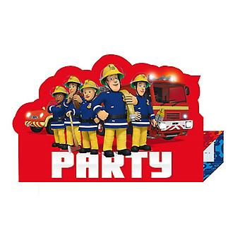 Firefighter Sam 8 invitations with envelope Fireman Sam samparty children's birthday
