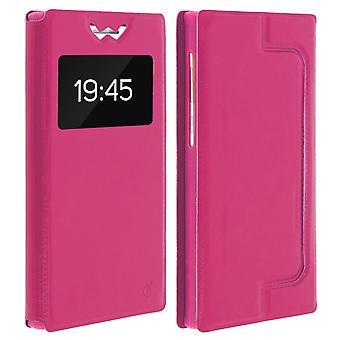 Smartphone Case 4,7'' Card Holder Window Video stand,slide Pink