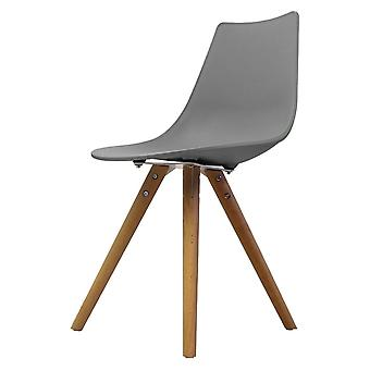 Fusion Living Iconic Mid Grey Plastic Dining Chair With Light Wood Legs Fusion Living Iconic Mid Grey Plastic Dining Chair With Light Wood Legs Fusion Living Iconic