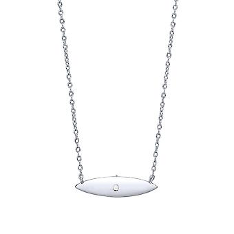 Jewelco London Damen Rhodium vergoldet Sterling Silber weiß Runde brillante Zirkonia Mini Surfbrett Charme Halskette
