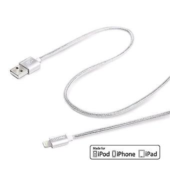 Celly usblighttexsv usb/lightning male/male cable coated in silver color fabric