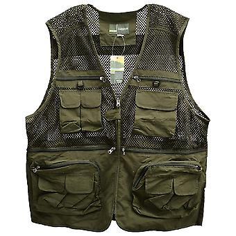 Men's outdoor sports photography fishing multi pocket zipper casual loose mesh vest armygreen - xxl