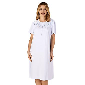 Slenderella ND4120 Femme-apos;s Jersey Floral Embroidered Cotton Nightdress