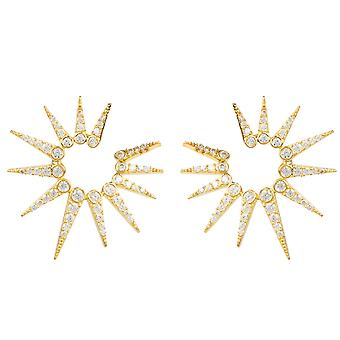 Spikey Ear Jacket Earrings Yellow Gold CZ Gemstone White Latelita Silver Stud