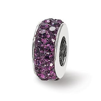 925 Sterling hopea kiillotettu heijastukset Feb kaksinkertainen rivi kristalli helmi charmia