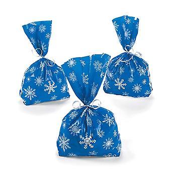 12 Schneeflocke gedruckt Blue Cellophan Christmas Party Taschen | Geschenk-Wrap-Lieferungen