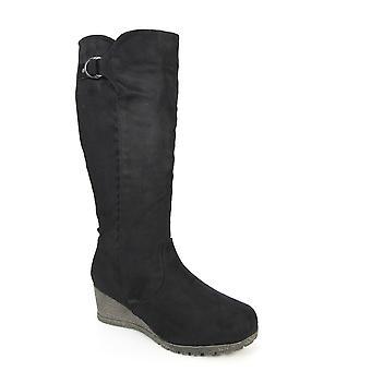 Lunar Baxter Black Long Wedge Boot (en)