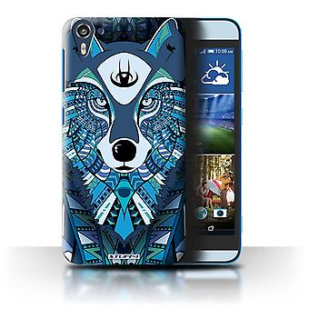STUFF4 Case/Cover for HTC Desire 826/Wolf-Blue/Aztec Animal