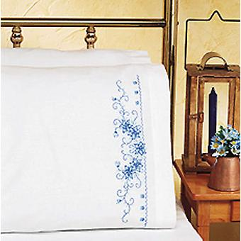 Blue Floral Pillowcase Pair Stamped Cross Stitch 20