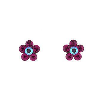 Petite Fuchsia Roze Swarovski Crystal Daisy Flower Stud Earrings Stud Earrings