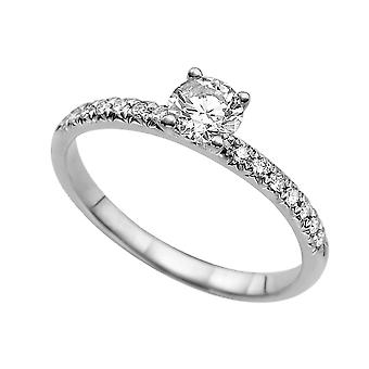 0.64ct White Sapphire and Diamonds Ring White Gold 14K Classic Round