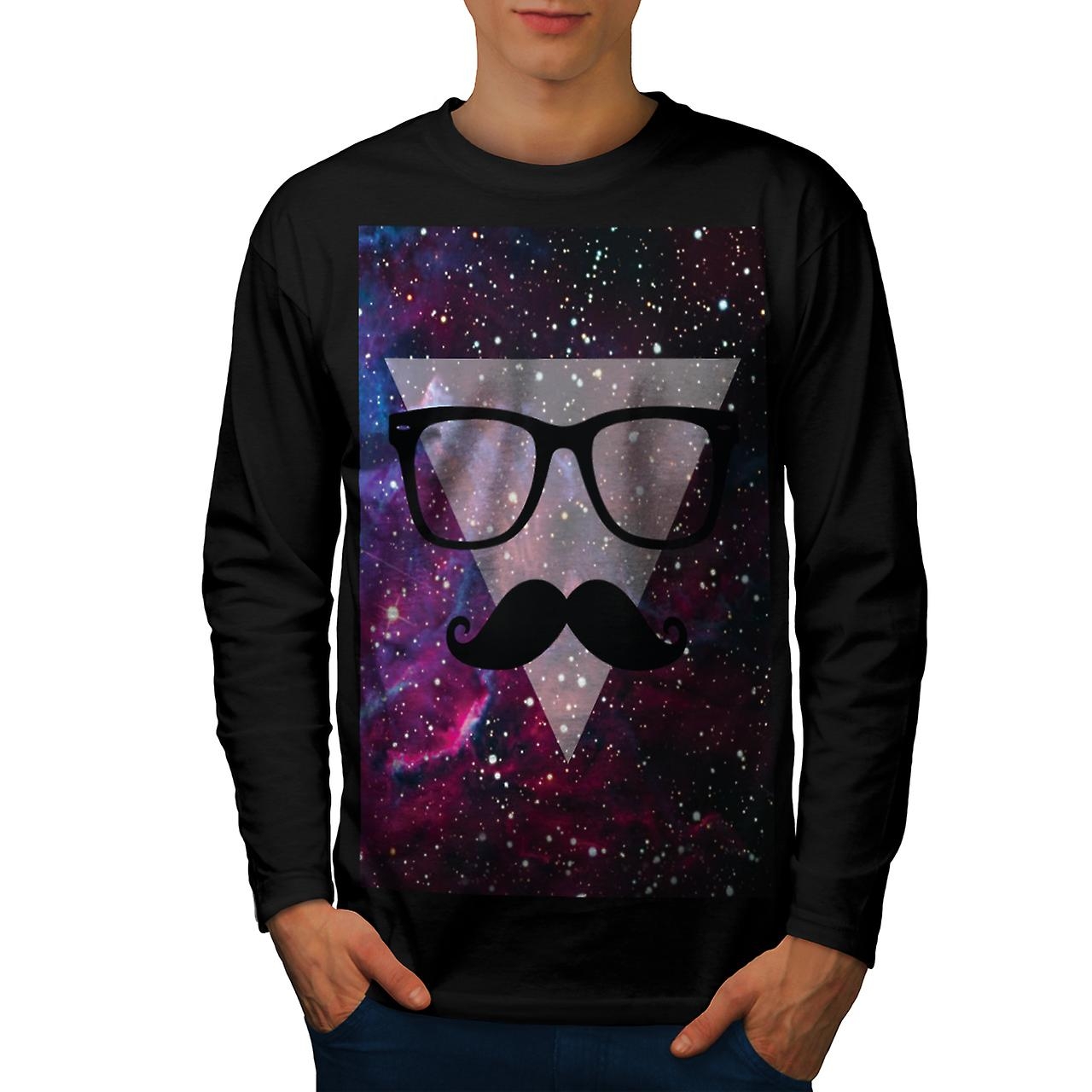 Master Disguise Space Funny Face Men Black Long Sleeve T-shirt   Wellcoda