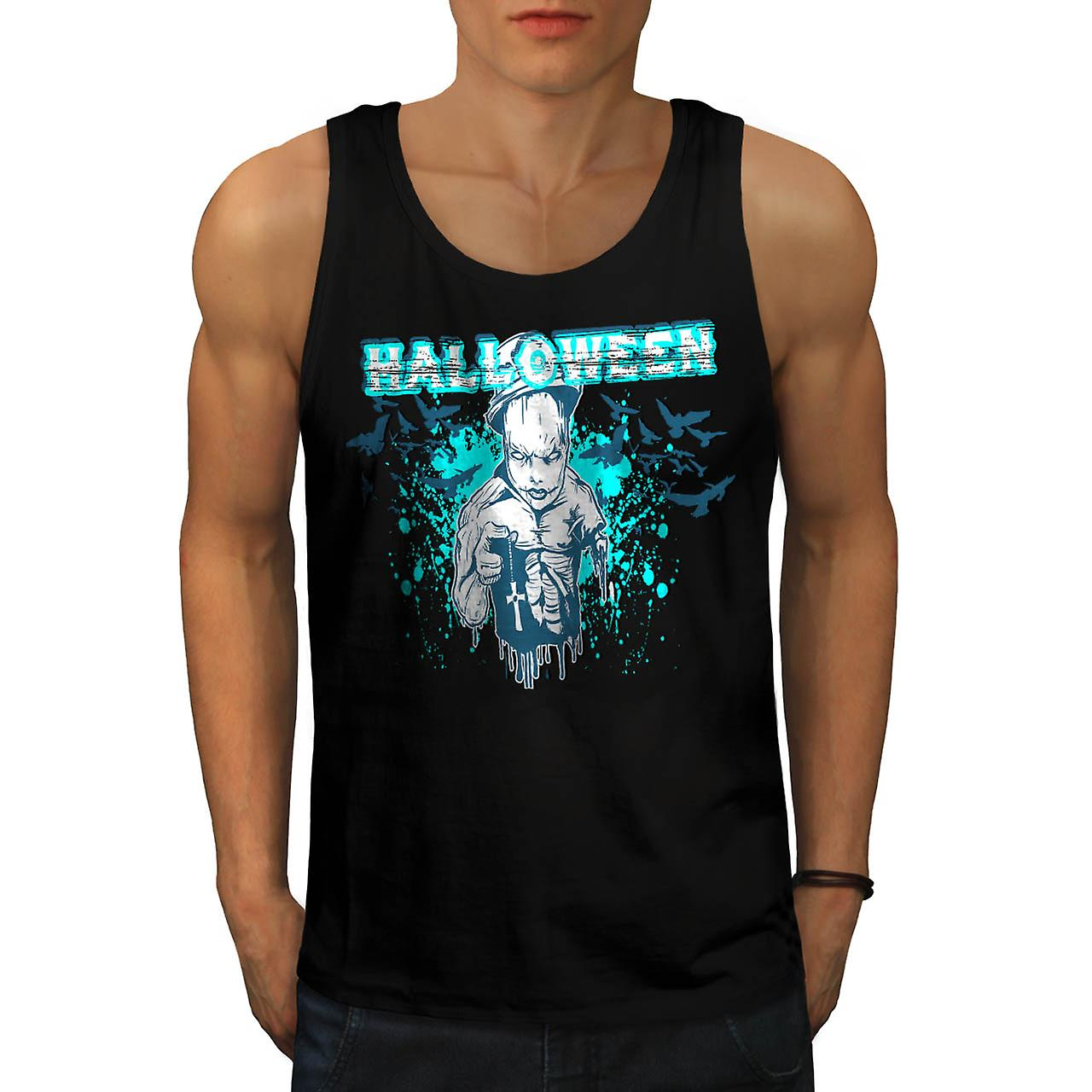 Halloween Horror Cult Scary Demon Men Black Tank Top | Wellcoda