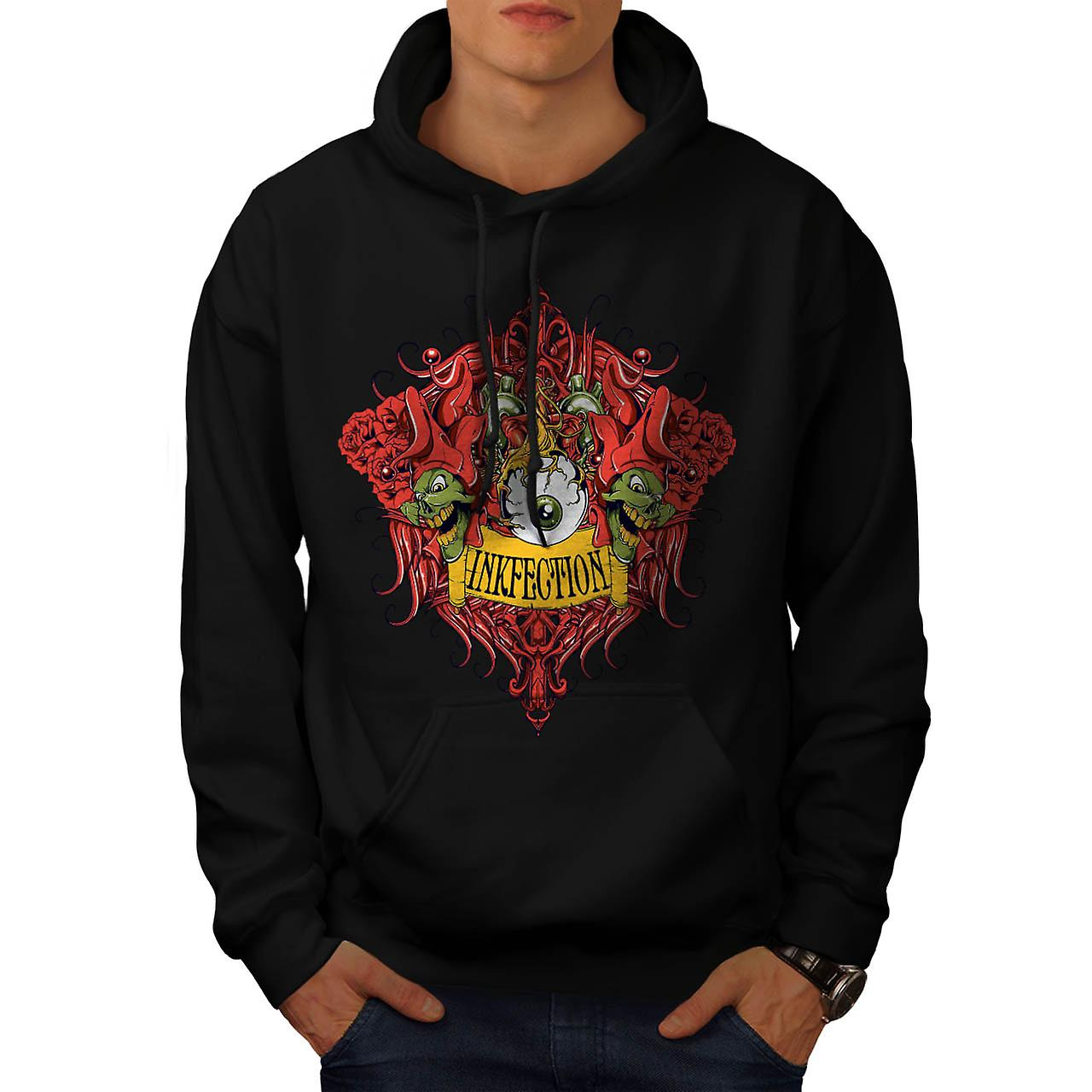 Ink Infection Tattoo Grinch Eye Men Black Hoodie | Wellcoda