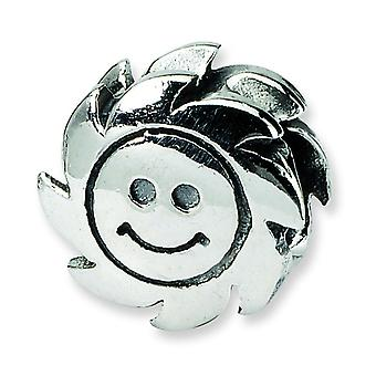 Sterling Silver Antique finish Reflections SimStars Smiling Sun Bead Charm