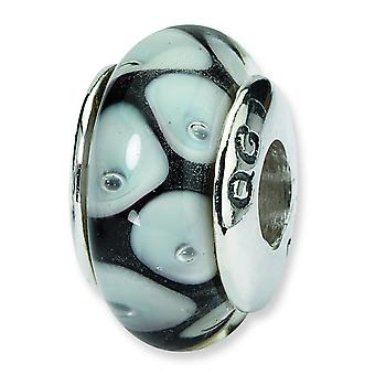 Ster. Silver Reflections Black Grey Murano Glass Bead Charm