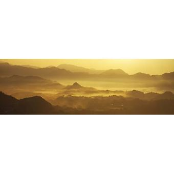 Mountains with valley at sunset Takachiho-Kyo Miyazaki Prefecture Kyushu Japan Poster Print