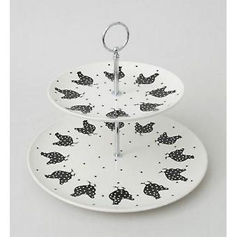 Tier 2 poulet Cake Stand Cookies noir