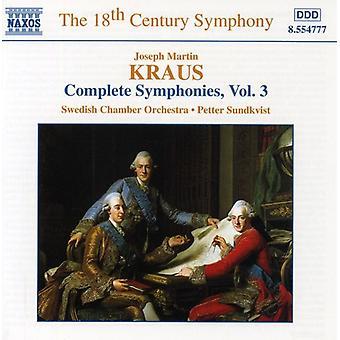 J.M. Kraus - J. Kraus: The Complete Symphonies, Vol. 3 [CD] USA import