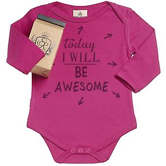 Spoilt Rotten Today I Will Be Awesome Organic Babygrow In Gift Milk Carton