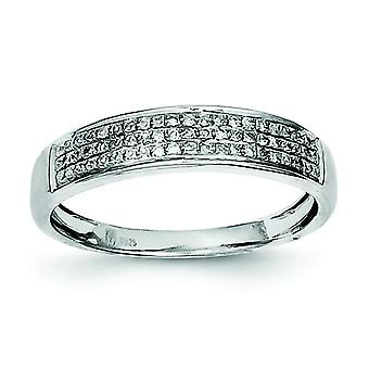 Sterling Silver Polished Prong set Open back Rhodium-plated Diamond Band Ring - Ring Size: 6 to 8