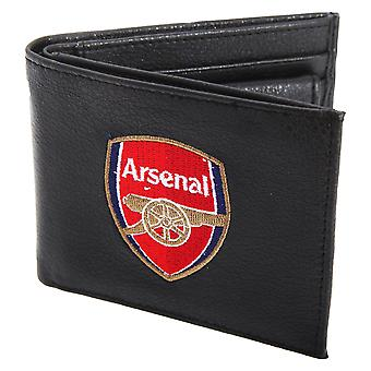 Arsenal FC Mens Official Leather Wallet With Embroidered Football Crest