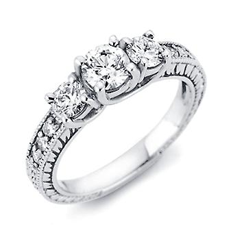 1 / 3ct Vintage drie steen ronde Diamond Engagement Ring 14K White Gold