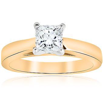 1ct Princess-Schliff Diamant Solitär Verlobungsring Kathedrale