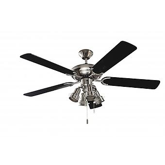 Ceiling Fan Steel Star with lights and black blades