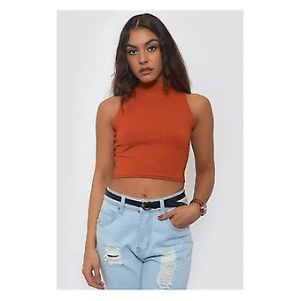 The Fashion Bible High Neck Rust Crop Top