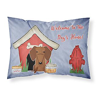 Dog House Collection Dachshund Red Brown Fabric Standard Pillowcase