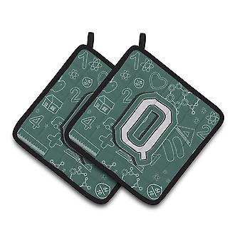 Letter Q Back to School Initial Pair of Pot Holders