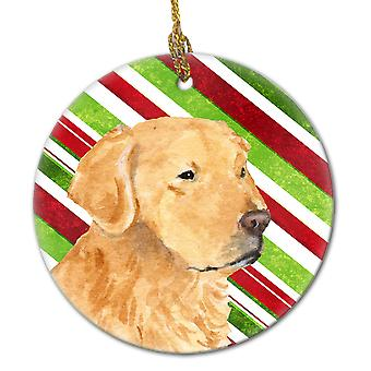 Golden Retriever Candy Cane Holiday Christmas Ceramic Ornament SS4545