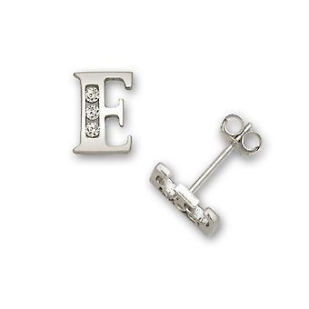 14 k oro blanco Cubic Zirconia pendientes de pequeño E inicial - medidas 7x5mm