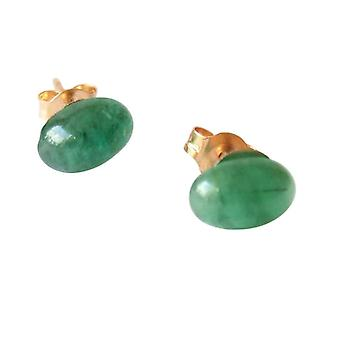 Gemshine - ladies - earrings - gold plated - emerald - green - cabochon