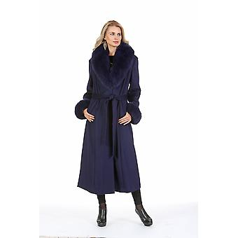 Plus Size Cashmere Coat with Fox Fur Collar and Cuffs - Navy