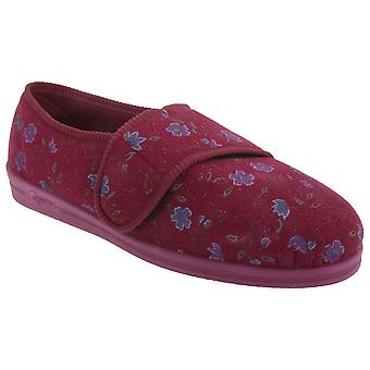 Comfylux Womens/Ladies Sally Floral Side Seam Superwide Slippers