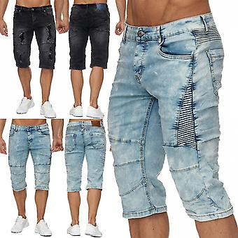 New men's jeans Shorts Pants stone washed denim biker style summer Capri TOP