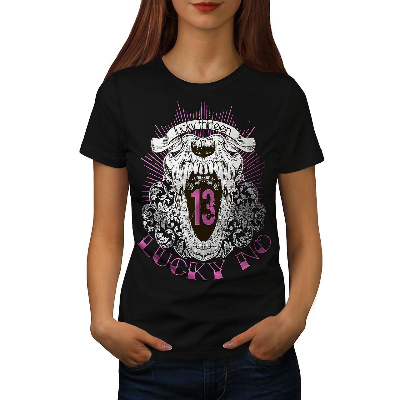 Lucky Thirteen Cool Skull Women Black T-shirt | Wellcoda