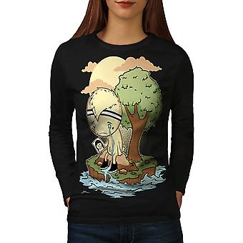 Lonely Sad Crying Women BlackLong Sleeve T-shirt | Wellcoda