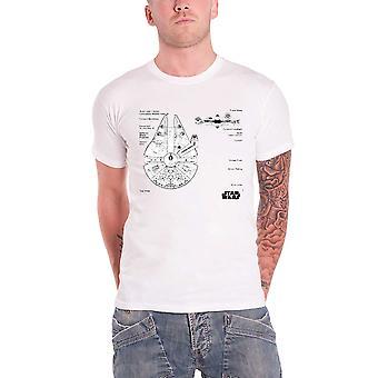 Star Wars Herren-T-Shirt weiß Millennium Falcon blau Print Beamter