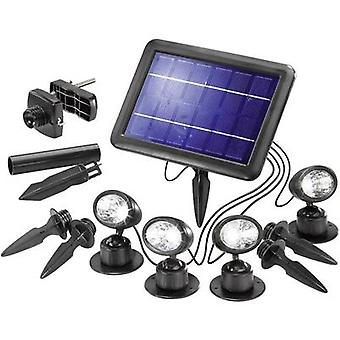 Solar spotlight LED 1 W Cold white Esotec Quattro Power 102142 Black