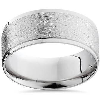 Men's 8mm Textured Platinum Comfort Fit Wedding Band