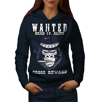 Cowboy Bad Monkey Face Women NavyHoodie | Wellcoda