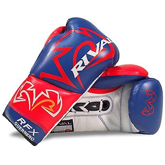 Rival RFX-Guerrero Lace Up Pro Boxing Gloves - Blue Red