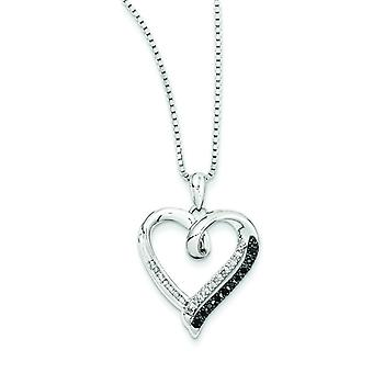 Sterling Silver Polished Prong set Open back Gift Boxed Spring Ring Rhodium-plated Black and White Diamond Heart Pendant