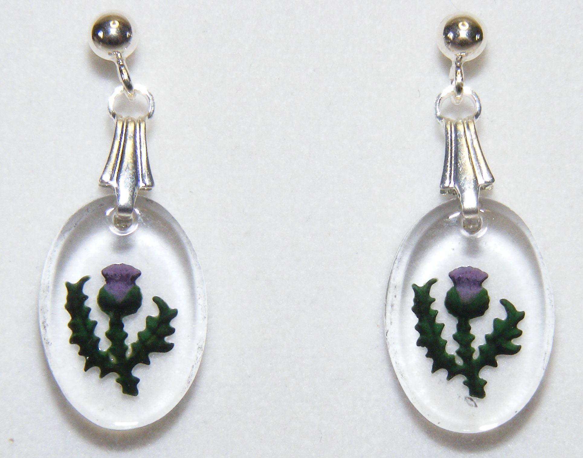 Hand Painted Thistle Oval Earrings